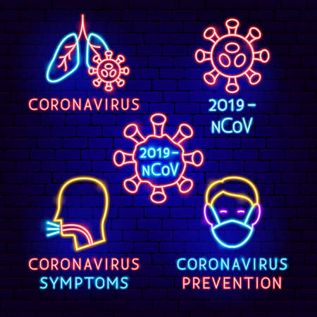 Coronavirus Neon Label Set
