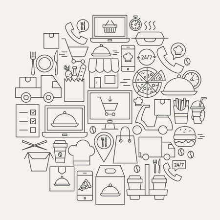 Food Delivery Line Icons Circle. Vector Illustration of Outline Design.