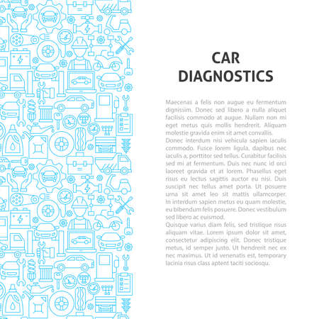 Car Diagnostics Line Pattern Concept. Vector Illustration of Outline Design.