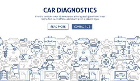 Car Diagnostics Banner Design. Vector Illustration of Outline Template. Illustration