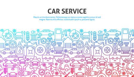 Car Service Concept. Vector Illustration of Outline Design.