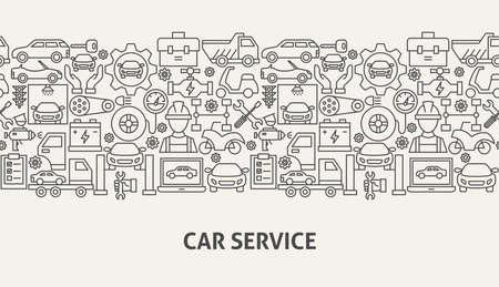Car Service Banner Concept. Vector Illustration of Outline Design. Illustration