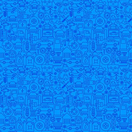 Car Services Line Seamless Pattern. Vector Illustration of Outline Background.
