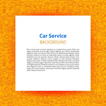 Car Service Paper Template. Vector Illustration of Outline Design.
