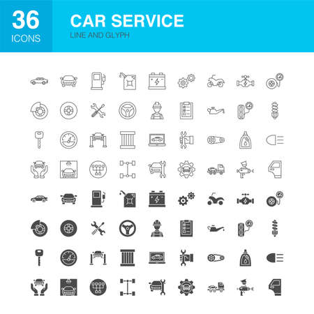 Car Service Line Web Glyph Icons. Vector Illustration of Diagnostics Outline and Solid Symbols.  イラスト・ベクター素材