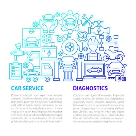 Car Service Line Template. Vector Illustration of Outline Design. Illustration