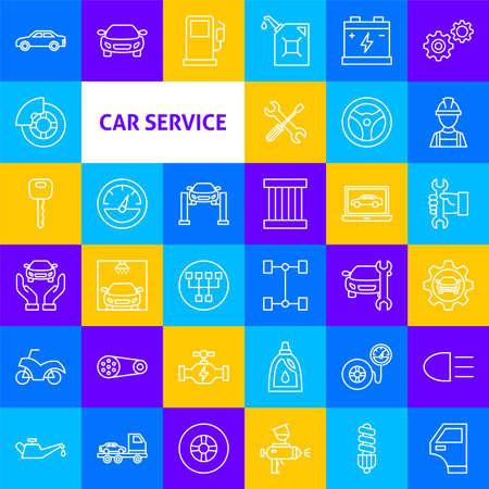 Car Service Line Icons. Vector Thin Outline Diagnostics Symbols.