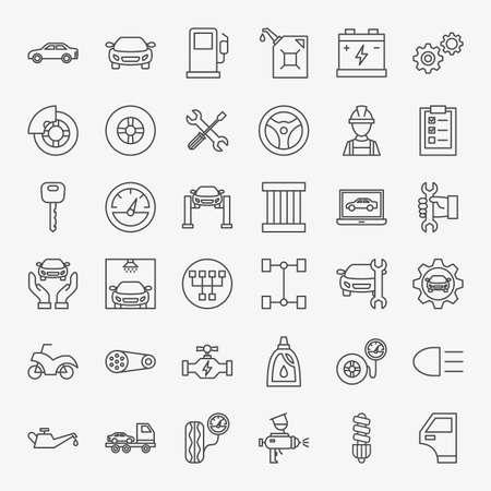 Car Service Line Icons Set. Vector Thin Outline Diagnostics Symbols.