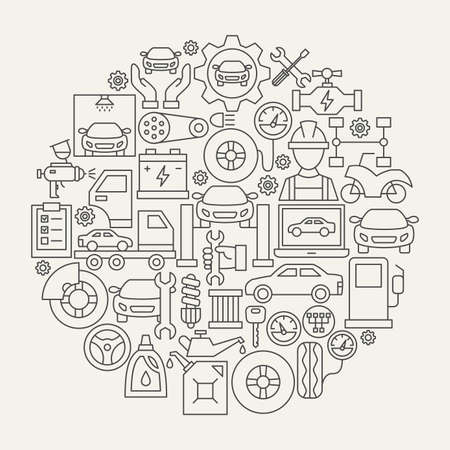 Car Service Line Icons Circle. Vector Illustration of Outline Design.