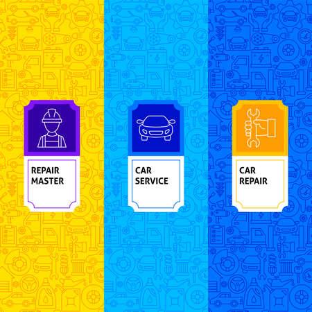 Line Car Service Package Labels. Vector Illustration of Outline Design.