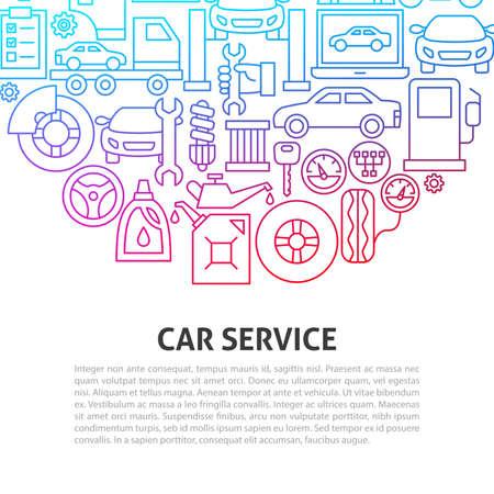 Car Service Line Concept. Vector Illustration of Outline Design.