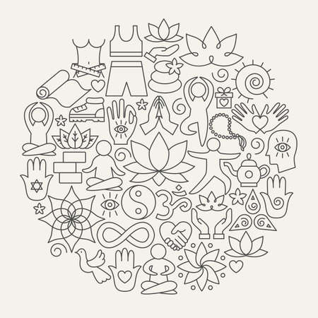 Cercle d'icônes de ligne de yoga