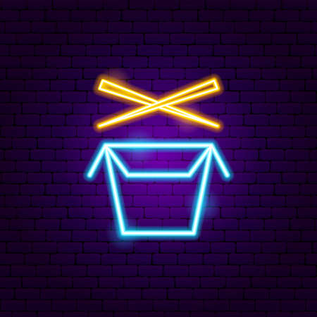 Wok Box Neon Sign. Vector Illustration of Chinese Food Promotion.  イラスト・ベクター素材