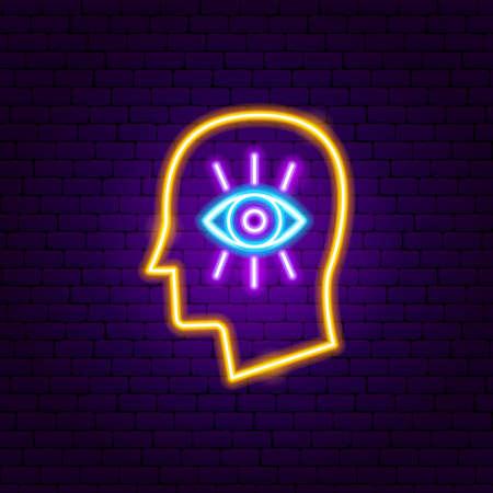 Mind Vision Neon Sign. Vector Illustration of Meditation Promotion.