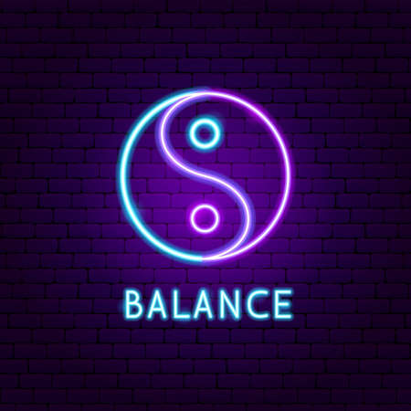 Balance Neon Label. Vector Illustration of Meditation Promotion. 矢量图像