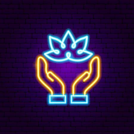 Hands Lotus Neon Sign. Vector Illustration of Meditation Promotion.
