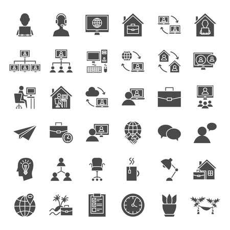 Remote Work Solid Web Icons Vektoros illusztráció