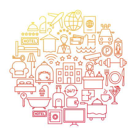 Hotel Line Icon Circle Design Ilustracja