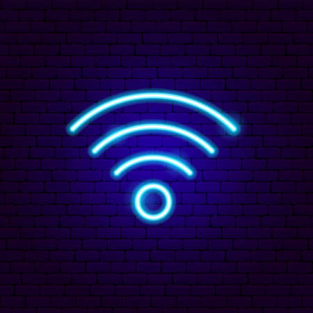 Wi-fi Neon Sign. Vector Illustration of Technology Promotion.