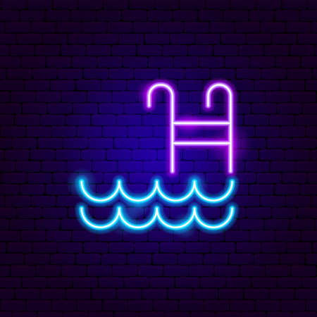 Swimming Pool Neon Sign. Vector Illustration of Water Promotion. Vectores