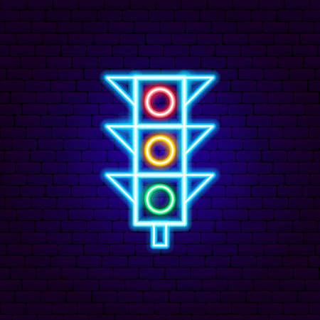 Traffic Light Neon Sign. Vector Illustration of Transportation Promotion.