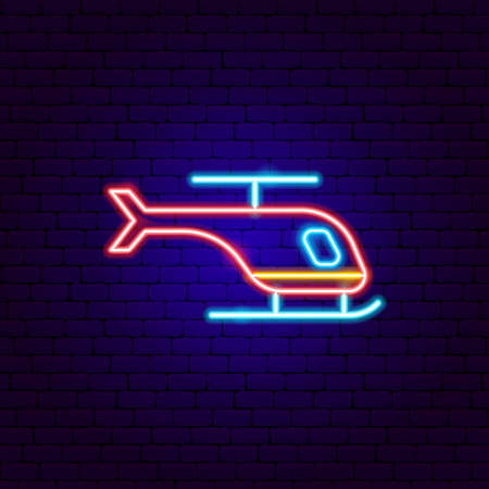 Helicopter Neon Sign. Vector Illustration of Transport Promotion.