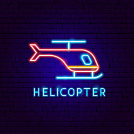 Helicopter Neon Label. Vector Illustration of Transport Promotion. Vectores