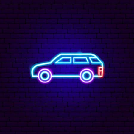 Hatchback Neon Sign. Vector Illustration of Car Transport Promotion.