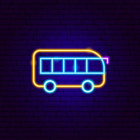 Bus Neon Sign. Vector Illustration of Transport Promotion.