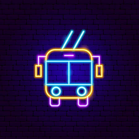 Trolleybus Front Neon Sign. Vector Illustration of Transport Promotion.