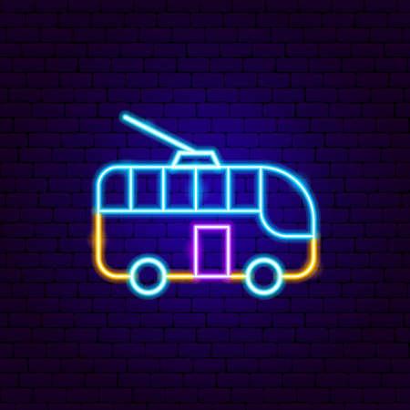 Trolleybus Neon Sign. Vector Illustration of Transport Promotion.