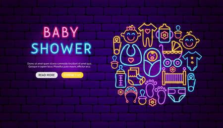 Baby Shower Neon Banner Design