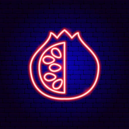Pomegranate with Seeds Neon Sign Illustration