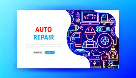 Auto Repair Neon Landing Page