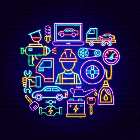 Auto Repair Neon Concept