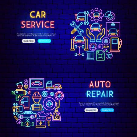 Auto Repair Neon Banners Vettoriali
