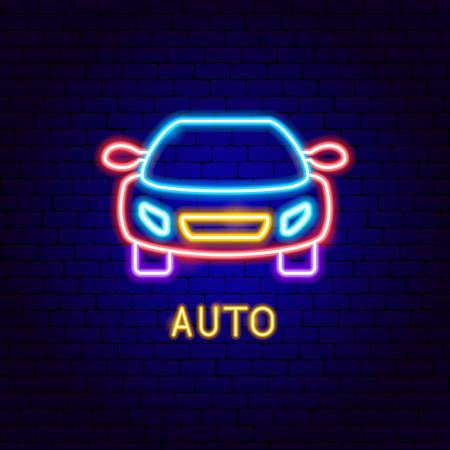 Auto Neon Label Vettoriali