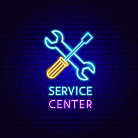 Service Center Neon Label