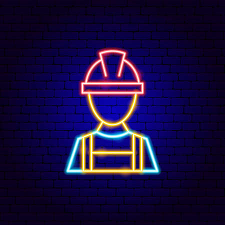 Repair Worker Neon Sign Vettoriali
