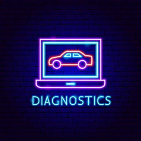 Diagnostics Neon Label Vettoriali