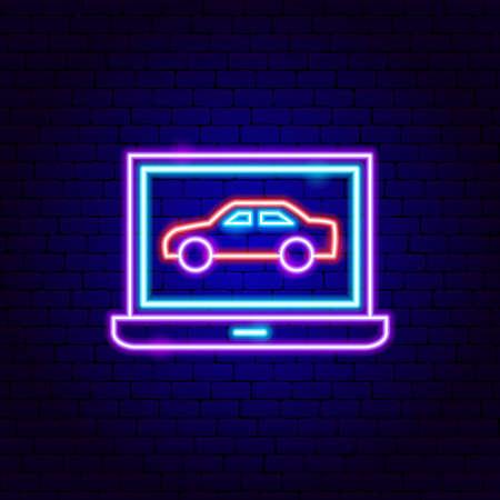 Computer Car Diagnostics Neon Sign Vettoriali