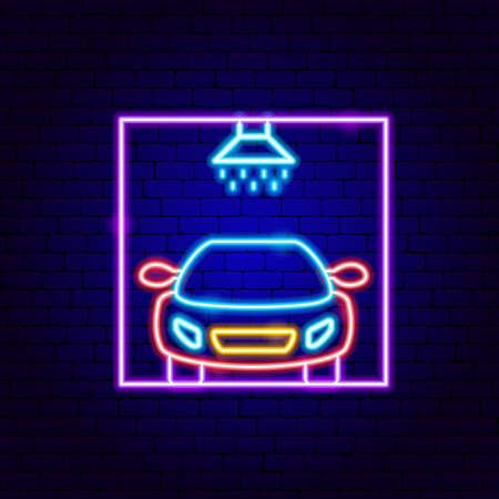 Car Wash Neon Sign Vettoriali
