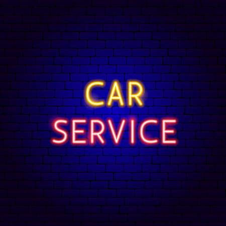 Car Service Neon Text