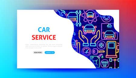 Car Service Neon Landing Page