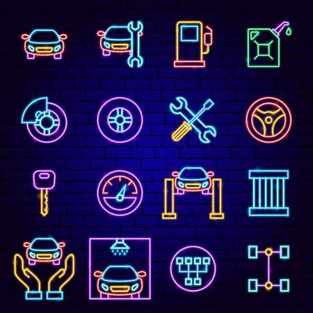Car Service Neon Icons