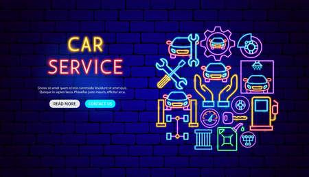 Car Service Neon Banner Design