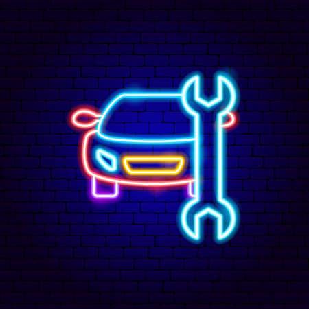 Car Repair Neon Sign Vettoriali