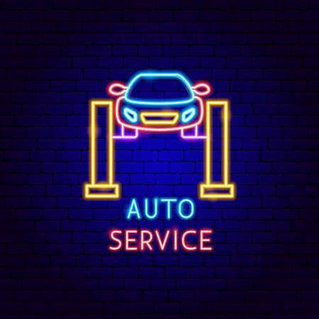 Auto Service Neon Label