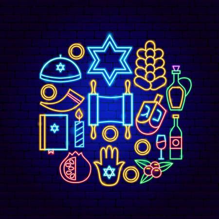 Happy Hanukkah Holiday Neon Concept