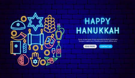 Hanukkah Neon Banner Design